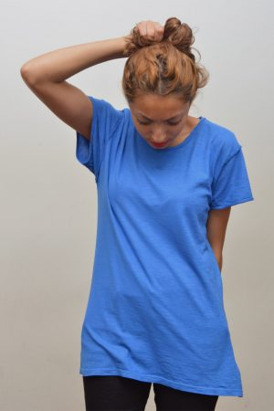 Blue t-shirt bohemian style unisex for woman