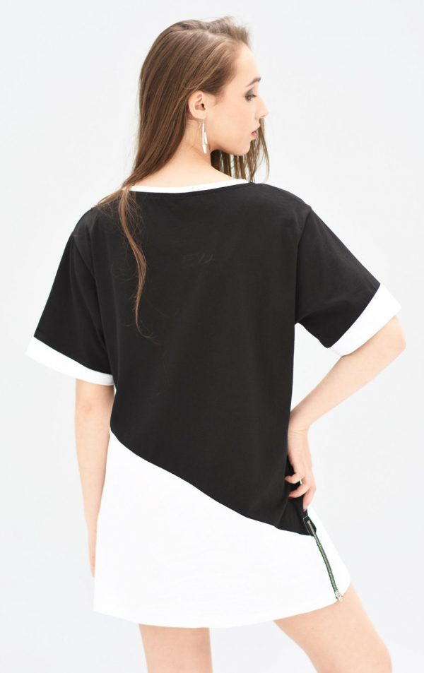 long zipped unisex streetwear t-shirt unisex