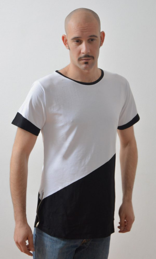 man fashion streetwear t-shirt zipped